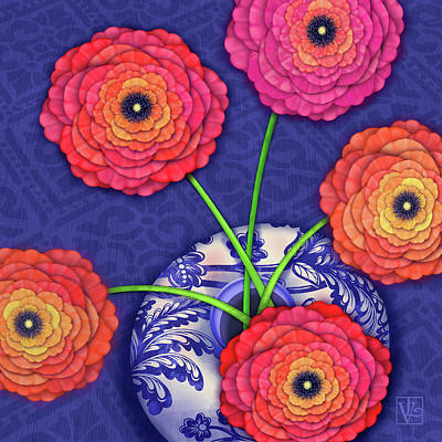 Digital Art - Ranunculus In Blue And White Vase by Valerie Drake Lesiak