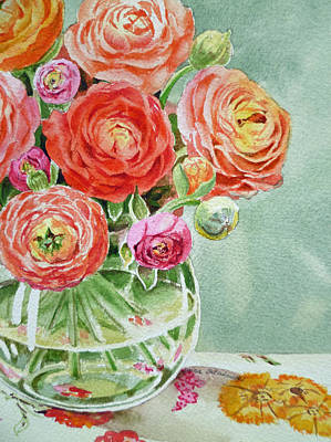 Roses Royalty-Free and Rights-Managed Images - Ranunculus in the Glass Vase by Irina Sztukowski