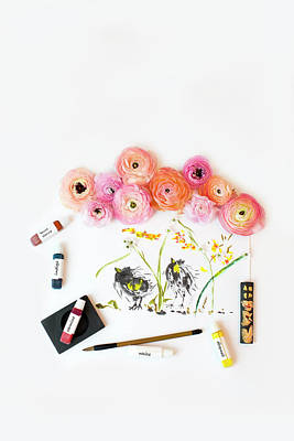 Photograph - Ranunculus With First Watercolor by Susan Gary