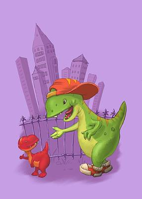 Painting - Rap-rap Raptor City by Andy Catling
