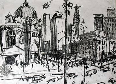 Streetscape Drawing - Rapid Drawing Of Flinders Street by Richard Mclean