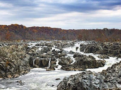 Rapids At Great Falls Park In Autumn Art Print by Brendan Reals