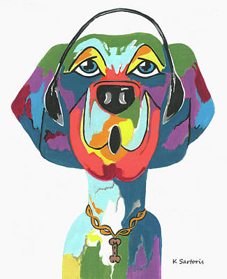 Painting - Rapping Rover - Funny  Dog by Kathleen Sartoris