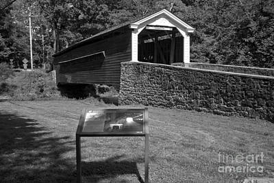 Photograph - Rapps Covere Bridge Sign Black And White by Adam Jewell