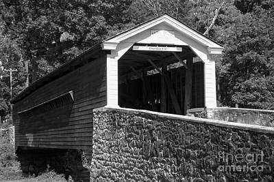 Photograph - Rapps Covered Bridge Black And White by Adam Jewell