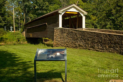 Photograph - Rapps Covered Bridge Sign by Adam Jewell