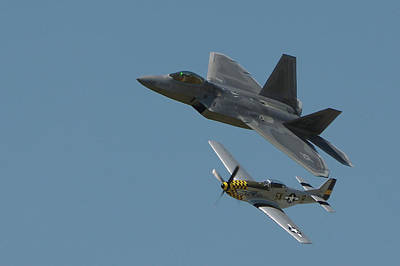 Photograph - Raptor And Mustang Flypast by Paul Wash