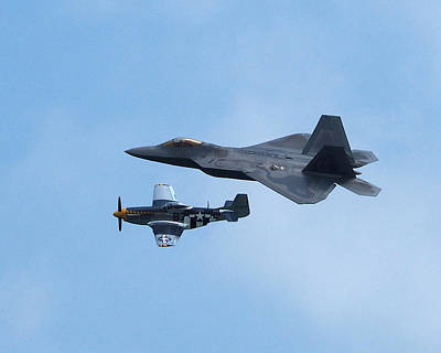Photograph - Raptor And Mustang In Formation Over Ocean City by Bill Swartwout