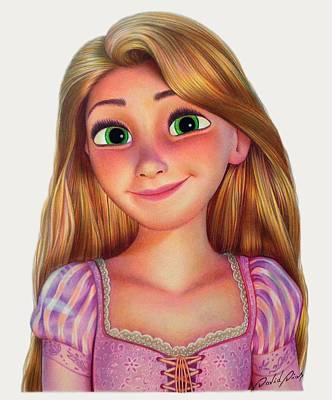 Drawing - Rapunzel by David Dias