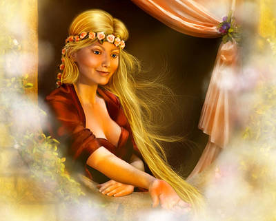 Digital Art - Rapunzel by Laurie Hasan