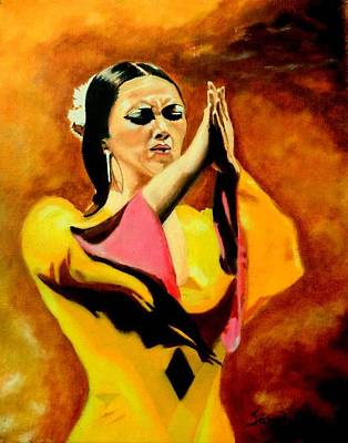 Painting - Raquel Heredia - Flamenco Dancer Sold by Manuel Sanchez