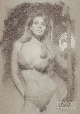 John Wayne Drawing - Raquel Welch Hollywood Actress by Frank Falcon