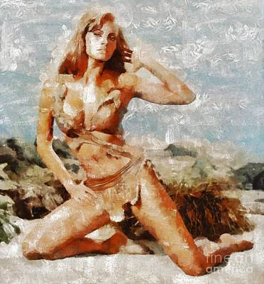 Welch Painting - Raquel Welch Hollywood Actress by Mary Bassett