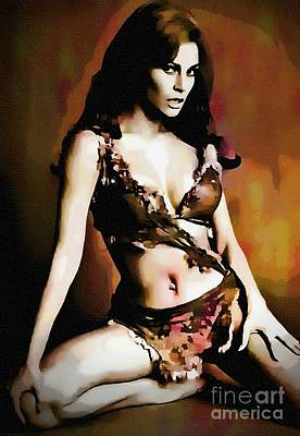 Raquel Welch - One Million Years B.c.  Art Print by Ian Gledhill
