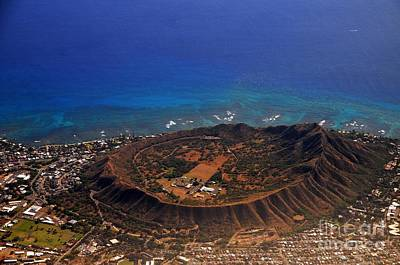 Photograph - Rare Aerial View Of Extinct Volcanic Crater In Hawaii.  by Akshay Thaker-PhotOvation