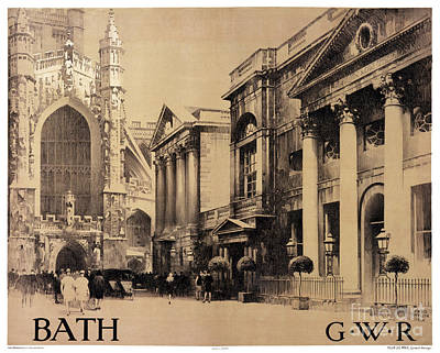 Bath England Mixed Media - Rare Bath Vintage Travel Poster Restored by Carsten Reisinger