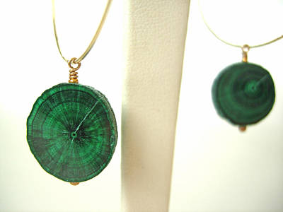 Adove Jewelry - Rare Malachite Stalactites On Gold Hoops by Adove  Fine Jewelry