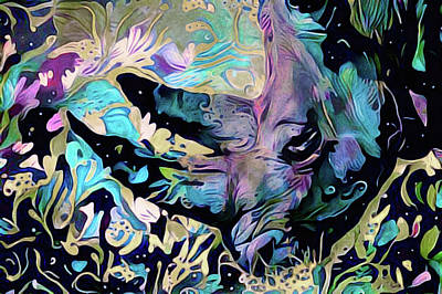 Mixed Media - Rare Purple Rhino by Susan Maxwell Schmidt