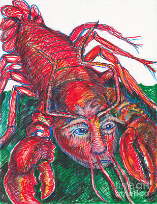 Cannibalism Drawing -  Rare Trump Lobsters Have Little Hands by Susan Brown    Slizys art signature name