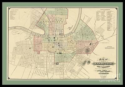 Map Of Tennessee Drawing - Rare Vintage Map Of Nashville Tennessee by Pd