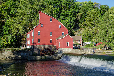 Rariton River And The Red Mill - Clinton New Jersey Art Print by Bill Cannon