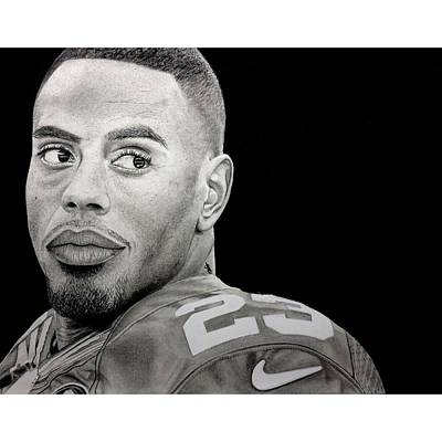 Drawing - Rashad Jennings Drawing by Angelee Borrero