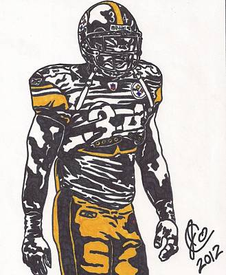 Art Print featuring the drawing Rashard Mendenhall 2 by Jeremiah Colley