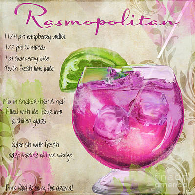 Fizz Painting - Rasmopolitan Mixed Cocktail Recipe Sign by Mindy Sommers