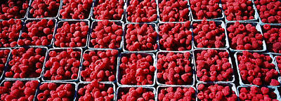 Healthy Eating Photograph - Raspberries At A Farmers Market by Panoramic Images