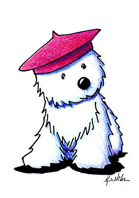 Raspberry Drawing - Raspberry Beret Westie by Kim Niles