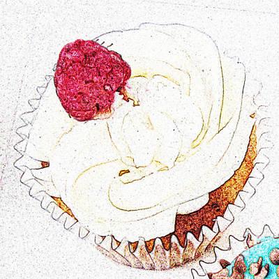 Teacake Digital Art - Raspberry Cupcake  by Susan Baker