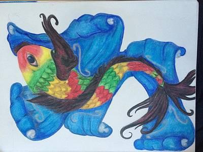Rasta Drawing - Rasta Fish by Heather L
