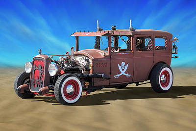 Photograph - Rat Rod On Beach 3 by Mike McGlothlen