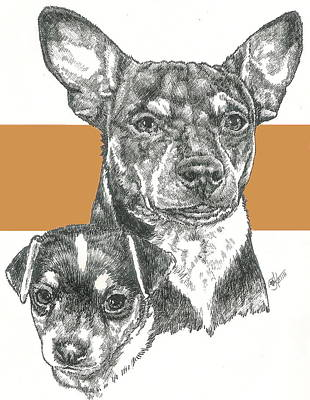 Mixed Media - Rat Terrier And Pup by Barbara Keith
