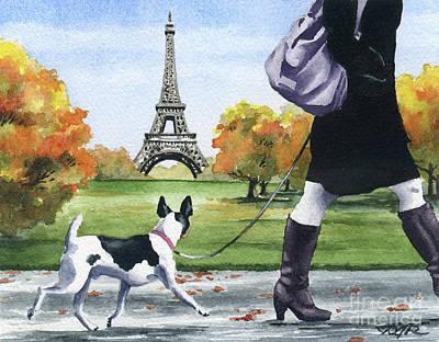 Paris Painting - Rat Terrier In Paris by David Rogers