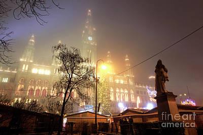 Photograph - Rathaus Christmas Fog Vienna by John Rizzuto