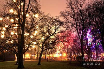 Photograph - Rathauspark Christmas Glow At Night  by John Rizzuto