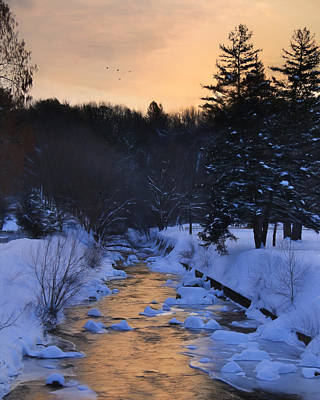 Wintry Mixed Media - Rattling Creek At Dawn by Lori Deiter