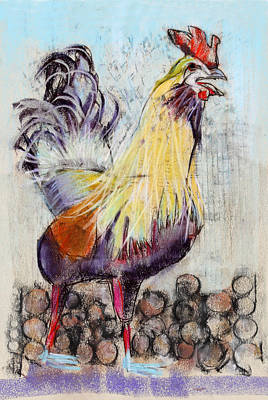 Mixed Media - Raucous Rooster by Julie Maas