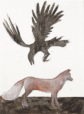 Raven And Old Fox Art Print by Sophy White