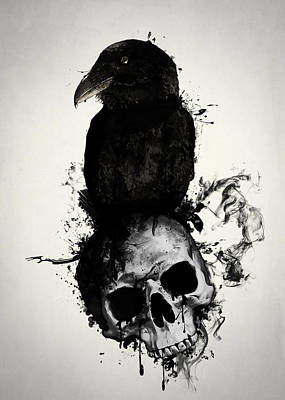 Death Wall Art - Mixed Media - Raven And Skull by Nicklas Gustafsson