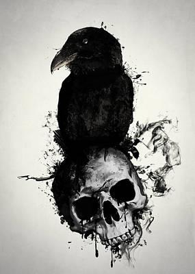 Raven And Skull Print by Nicklas Gustafsson