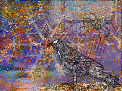 Winter Night Digital Art - Raven And Spider by Mary Ogle