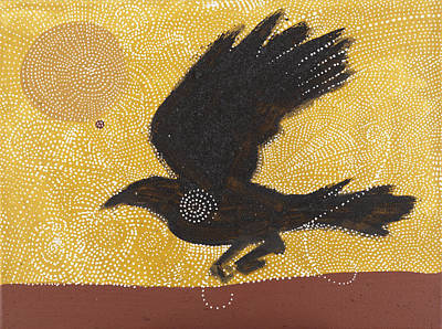 Iron Oxide Painting - Raven And Sun 1 by Sophy White