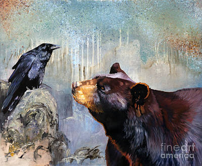Totems Painting - Raven And The Bear by J W Baker