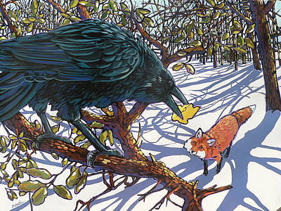 Raven And The Fox Art Print by Nadi Spencer
