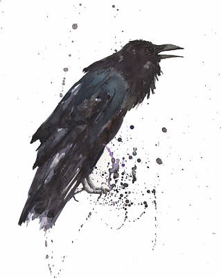 Bird Watercolor Painting - Raven  Black Bird Gothic Art by Alison Fennell