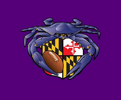 Best Sellers - Sports Royalty-Free and Rights-Managed Images - Raven Crab Football Maryland Crest by Joe Barsin