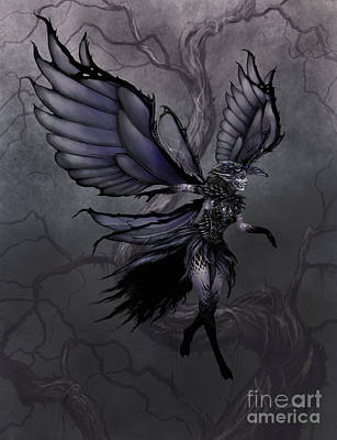 Print featuring the digital art Raven Fairy by Stanley Morrison