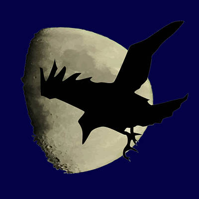 Digital Art - Raven Flying Across The Moon by Tracey Harrington-Simpson